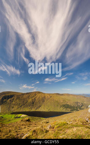 View over Glenbeg Lough from Tooreennamna Mountain, near Ardgroom, Beara, County Cork, Ireland - Stock Photo