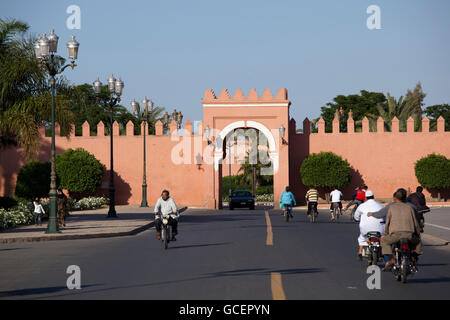 City wall and a city gate in the historic district of Marrakech, Morocco, Africa - Stock Photo