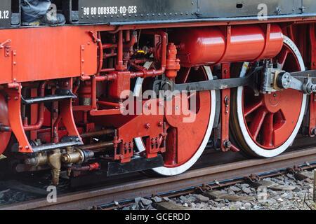 Wheels on railway tracks, detail, historic steam engine Feuriger Elias, Korntal-Münchingen, Baden-Württemberg - Stock Photo