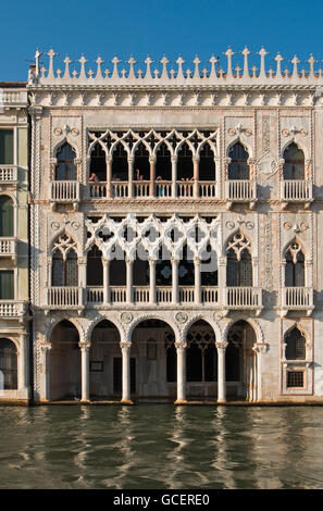 Gothic Ca' d'Oro Palace, Palazzo Santa Sofia, built in 15th century by architect Bartolomeo Bon, Grand Canal - Stock Photo