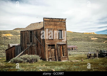 Abandoned buildings in the mining ghost two of Bodie, California. - Stock Photo