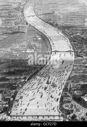OXFORD AND CAMBRIDGE BOAT RACE 1870 won by Cambridge by 1 1/2 lengths - Stock Photo