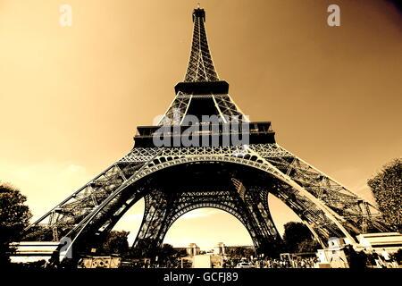 The Eiffel Tower sepia - Stock Photo