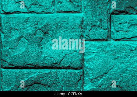 turquoise grayish gray scale Brick wall closeup Background Screen-saver - Stock Photo