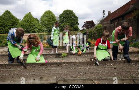 The National Trust's Sowing Squad - Stock Photo