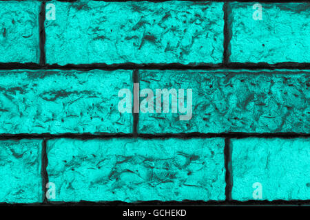 Perfect turquoise grayish grayscale high resolution natural urban Brick wall Background - Stock Photo