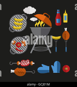 Icons Barbecue Grill - Stock Photo