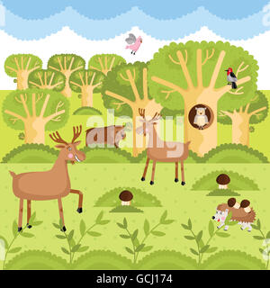 Wild animals on the forest. - Stock Photo