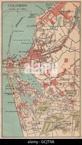 CEYLON. Colombo city plan. Sri Lanka. Pettah. British India., 1929 vintage map - Stock Photo