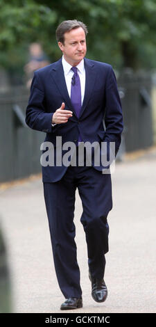 Prime Minister David Cameron arrives at the Serpentine Gallery in London to speak on tourism.