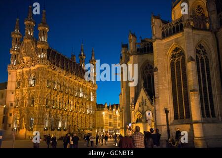The Gothic town hall in Brabantine Late Gothic style at the Grote Markt / Main Market square, Leuven / Louvain, - Stock Photo
