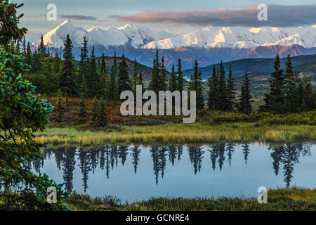Scenic sunrise view over Mt. Brooks and the Alaska Range with a tundra pond in the foreground, Denali National Park, - Stock Photo