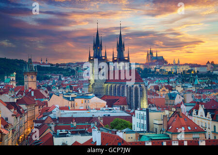 Prague. Image of Prague, capital city of Czech Republic, during dramatic sunset. - Stock Photo