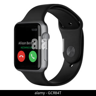Varna, Bulgaria - October 16, 2015: Side view of Apple Watch Sport 42mm Space Gray Aluminum Case with Black Sport - Stock Photo
