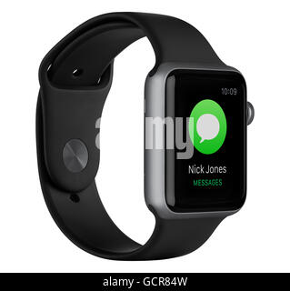 Varna, Bulgaria - October 16, 2015: Left side view of Apple Watch Sport 42mm Space Gray Aluminum Case with Black - Stock Photo