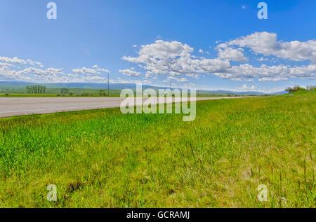 Open grasslands and big skies, Montana. - Stock Photo