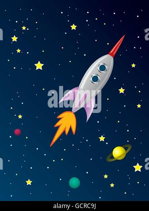 vector stylized retro rocket ship in space - Stock Photo