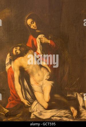 AVILA, SPAIN, APRIL - 19, 2016: The painting of pieta in church Iglesia-convento de Santa Teresa by unknown artist - Stock Photo
