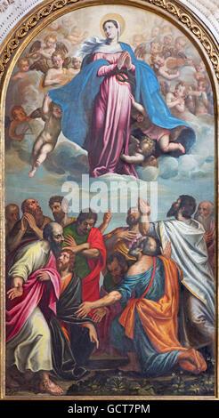 BRESCIA, ITALY - MAY 22, 2016: The painting of Assumption of Virgin Mary in church Chiesa di Santa Maria dei Miracoli - Stock Photo