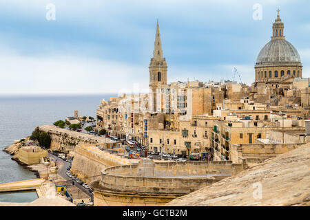 Valletta city Carmelite church dome and St Paul's cathedral, Malta - Stock Photo