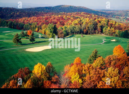 Aerial view of golf course & fall foliage; Pipestem Resort State Park; West Virginia; USA - Stock Photo