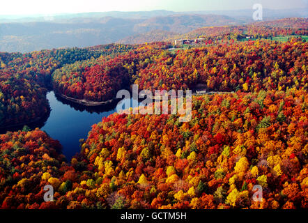 Aerial view of fall foliage; Long Branch Lake & McKeever Lodge; Pipestem Resort State Park; West Virginia; USA - Stock Photo