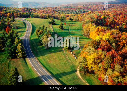 Aerial view of road & fall foliage; Pipestem Resort State Park; West Virginia; USA - Stock Photo