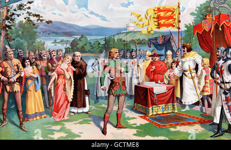 Robin Hood defying King John. An 1895 illustration by William Greer Harrison for a theatrical poster promoting Frederick - Stock Photo