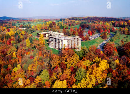 Aerial view of fall foliage & McKeever Lodge; Pipestem Resort State Park; West Virginia; USA - Stock Photo
