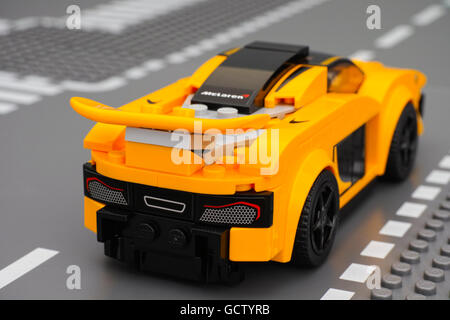 Tambov, Russian Federation - March 04, 2015 McLaren P1 car by LEGO Speed Champions on the Lego road baseplate. Back - Stock Photo