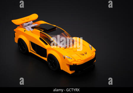 Tambov, Russian Federation - March 04, 2015 McLaren P1 car by Lego Speed Champions on black background. Studio shot. - Stock Photo