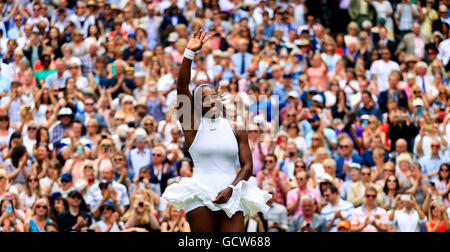 Serena Williams celebrates winning the ladies singles final on day twelve of the Wimbledon Championships at the - Stock Photo