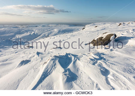 Sandy Heys in the Snow on Kinder Scout - Stock Photo