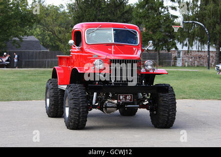 Truck- 1941 Dodge Power Wagon. 4x4.  Customized. Red. Beavercreek Popcorn Festival. Beavercreek, Dayton, Ohio, USA. - Stock Photo