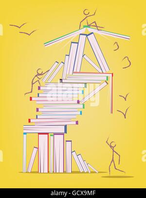 Abstract design with many books and stick figures moving around. Learning and education concept. Digital vector - Stock Photo
