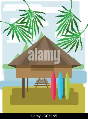 Abstract landscape design with palm trees and clouds, wooden tribal house with surf boards, flat style. Digital - Stock Photo