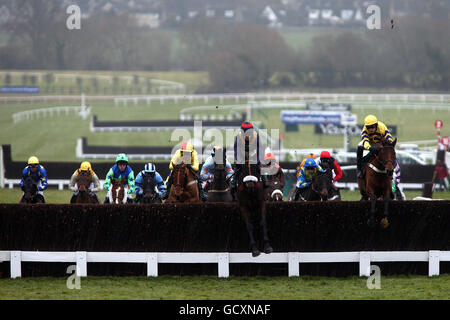 Buffalo Bob ridden by Jason Maguire leads the field on the first lap in the Raceodds Handicap Chase during the New Year's Day at Cheltenham Racecourse, Gloucestershire.
