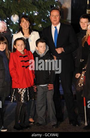 Downing Street Christmas lights - Stock Photo