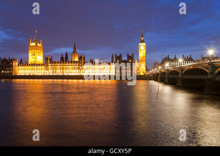 View across the River Thames, Westminster Hall, Houses of Parliament, Big Ben, Westminster Bridge, London, England - Stock Photo