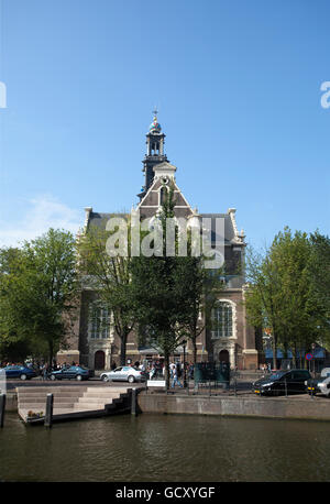 Westerkerk West Church, on the Prinsengracht canal, Amsterdam, Holland, Netherlands, Europe - Stock Photo
