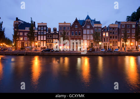 Canal houses in the evening on the Herengracht canal, Amsterdam, Holland, Netherlands, Europe - Stock Photo