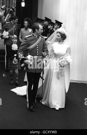 Royalty - Princess Anne and Captain Mark Phillips Wedding - London - Stock Photo