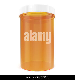 Transparent yellow pillbox unlabeled for medicine isolated on white background. 3d illustration - Stock Photo