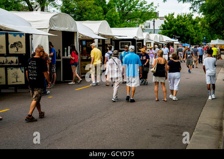 Street scene of Cherry Creek Art Festival in Denver Colorado - Stock Photo