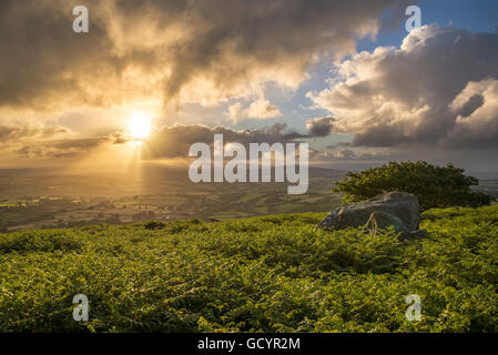 A beautiful  sunrise over the cornish landscape ,as seen from Caradon hill on the edge of Bodmin moor, Cornwall, - Stock Photo