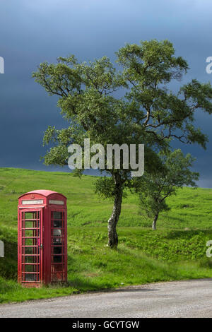 Single square red telephone box on country lane next to tree with stormy sky. - Stock Photo
