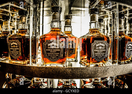 Bottles of Jack Daniel's Single Barrel Select Whiskey on display during the tour of the Distillery in Lynchburg, - Stock Photo