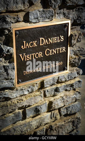 Bronze Plaque on stone wall at the Jack Daniel's Distillery Visitors Center in Lynchburg TN - Stock Photo