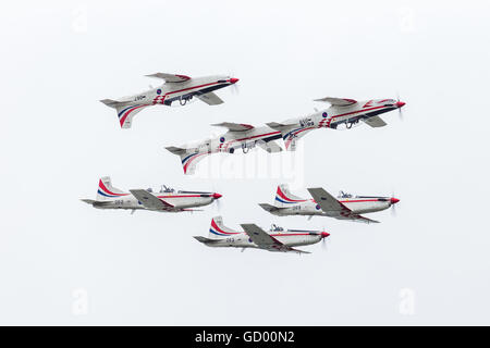 Wings of Storm of the Croatian Air Force display in formation pictured at the 2016 Royal International Air Tattoo. - Stock Photo