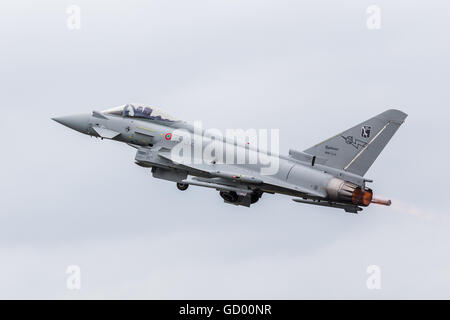 Italian F-2000 Typhoon taking off pictured at the 2016 Royal International Air Tattoo. - Stock Photo
